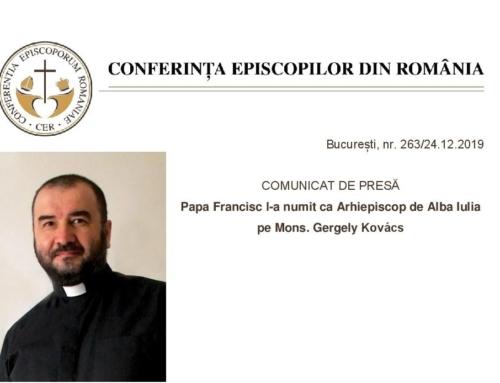 Der Heilige Vater Papst Franziskus hat Msgr. Gregor (Gergely) Kovács zum Erzbischof der Römisch-Katholischen Erzdiözese Karlsburg/ Alba Iulia ernannt