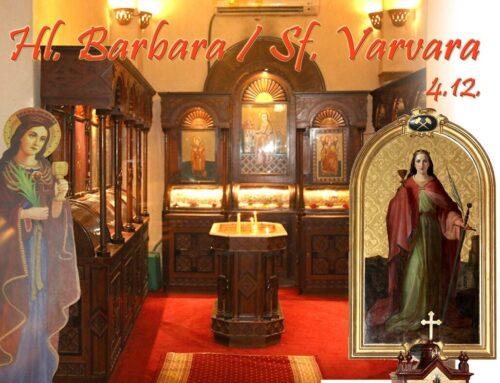 4 decembrie:  ziua de pomenire a Sfintei Barbara sau Varvara,  patroana minerilor